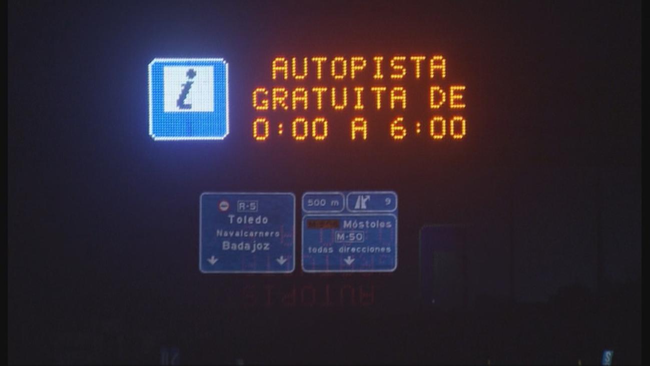 Peajes más baratos, incluso gratis, de madrugada en Madrid