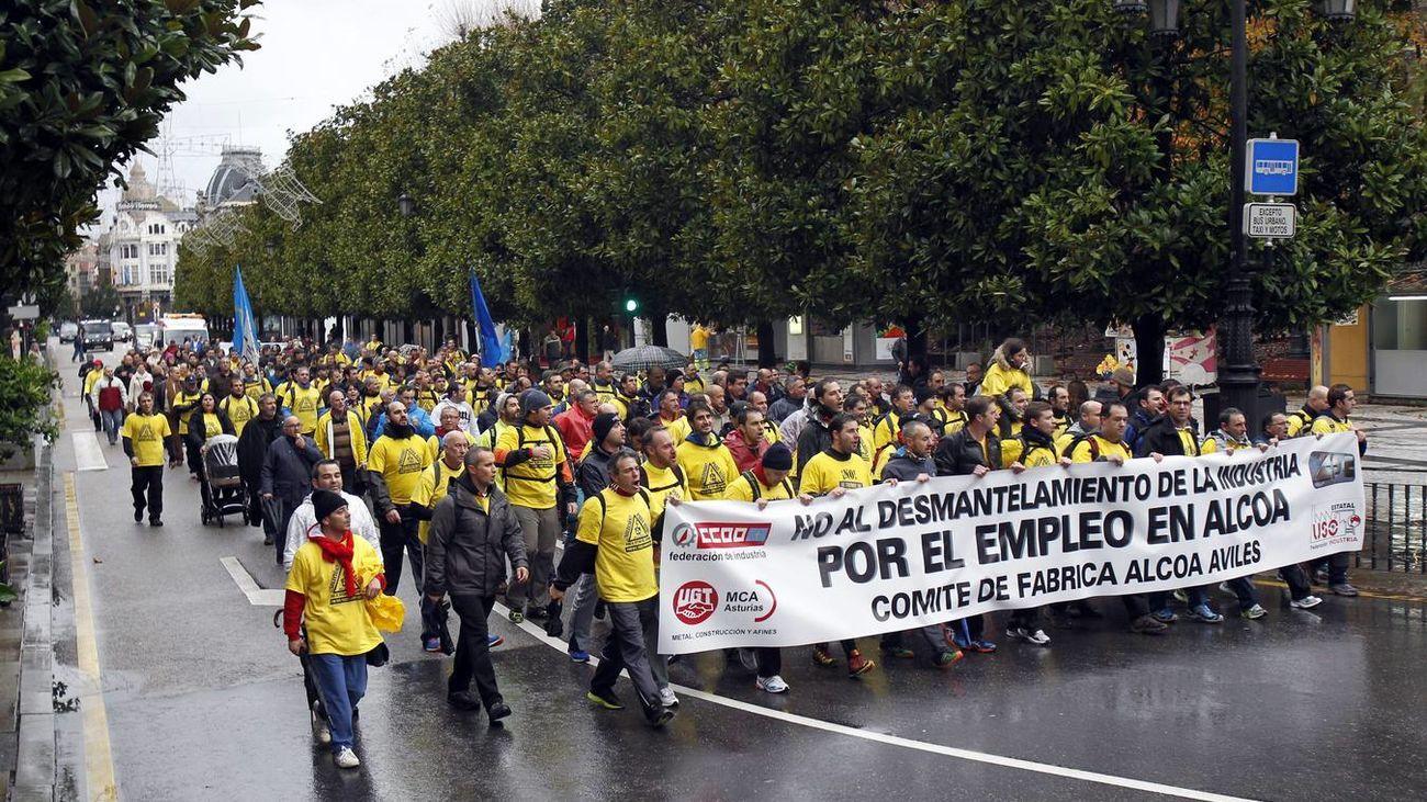 Protesta trabajadores Alcoa en Avilés.