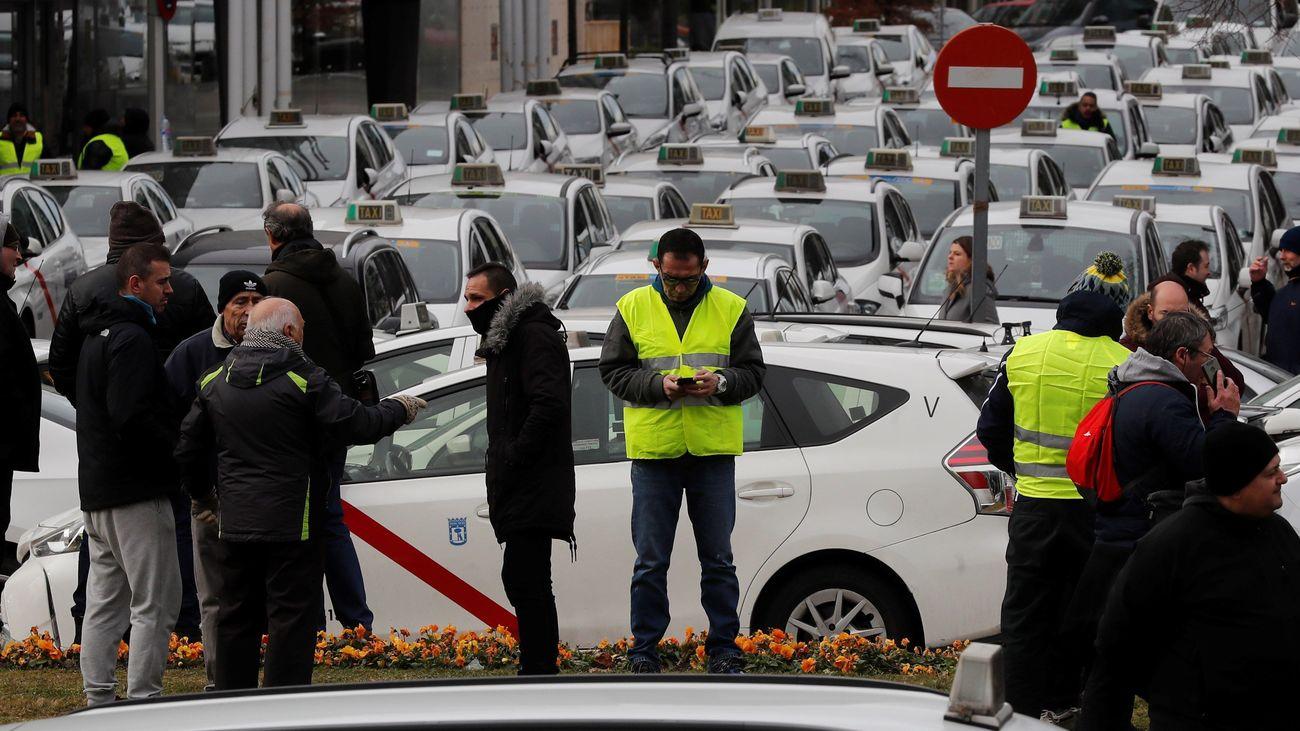 Protesta de taxistas en Madrid