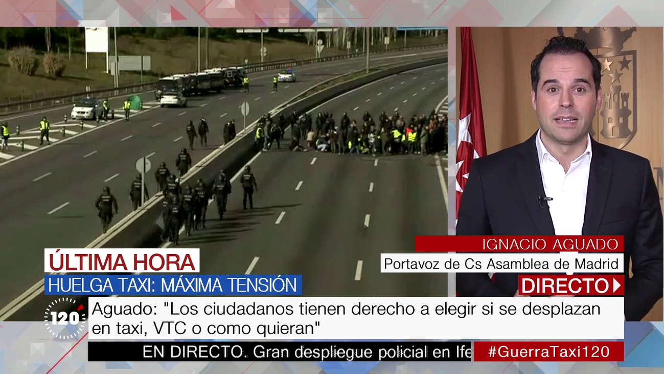 """Aguado: """"Los responsables del conflicto entre el taxi y los VTC son Sánchez y Ábalos"""""""