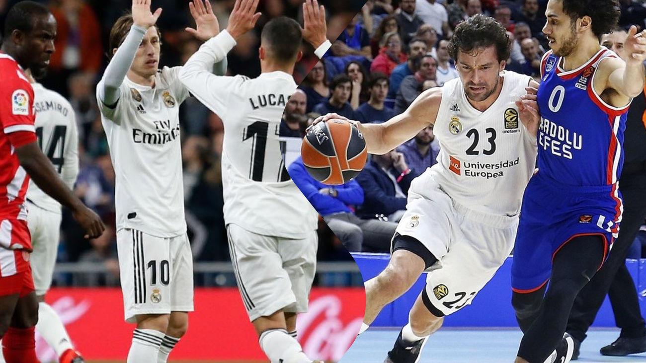 Victorias del Real Madrid ante el Girona (4-2) y ante el Efes (82-94)