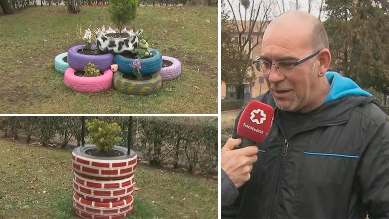 Un artista del reciclaje urbano en el barrio de Las Águilas