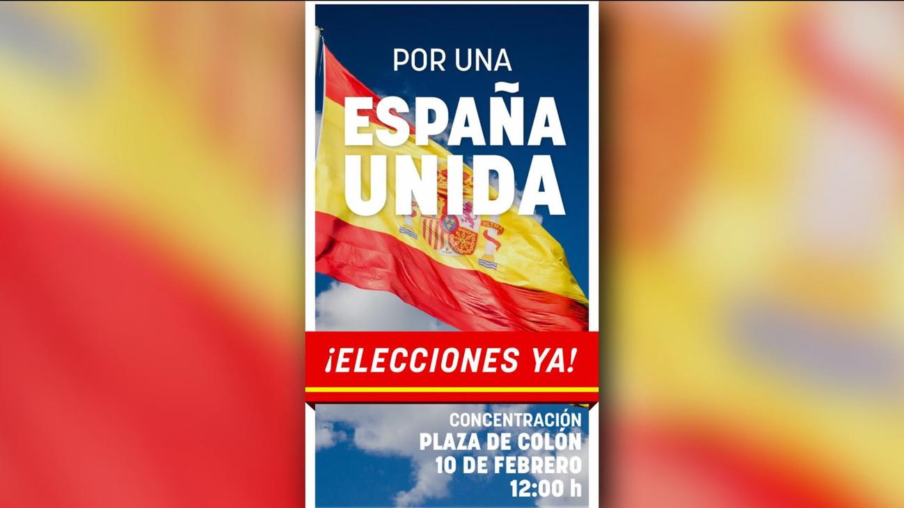 'Por una España unida, elecciones ya',  lema de la manifestación de PP y Cs contra Sánchez