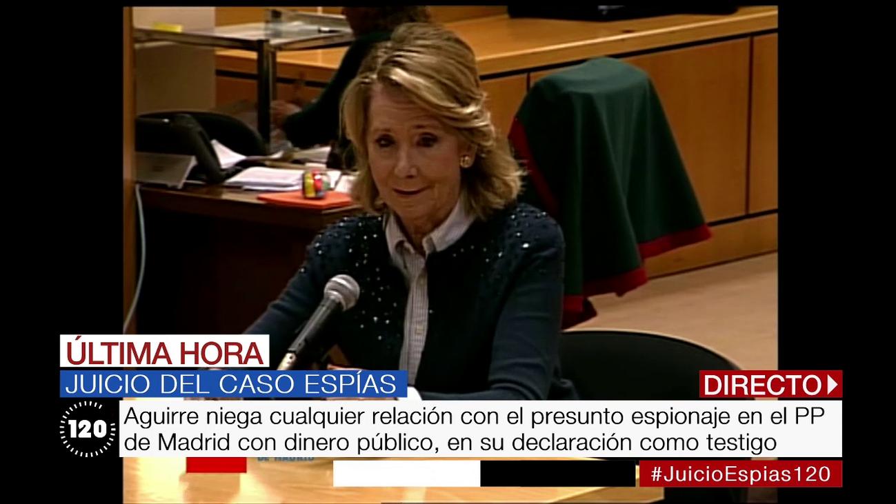 Esperanza Aguirre niega cualquier relación con el presunto espionaje en el PP de Madrid