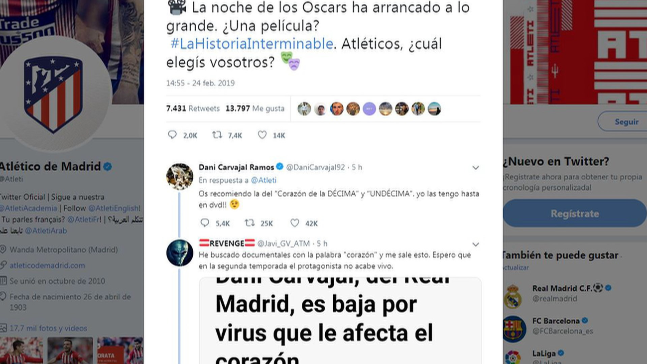El Atleti ironiza en Twitter y Carvajal responde