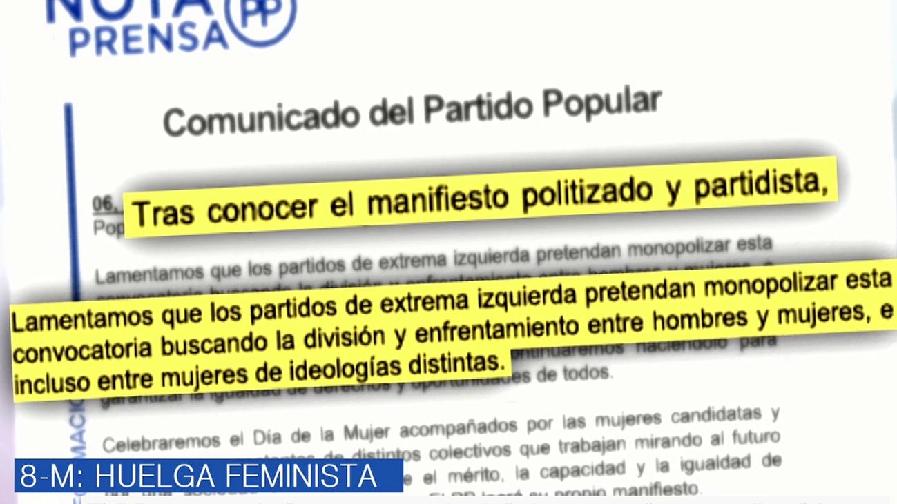 "El PP acusa a la ""extrema izquierda"" de querer ""monopolizar"" la huelga del 8-M"