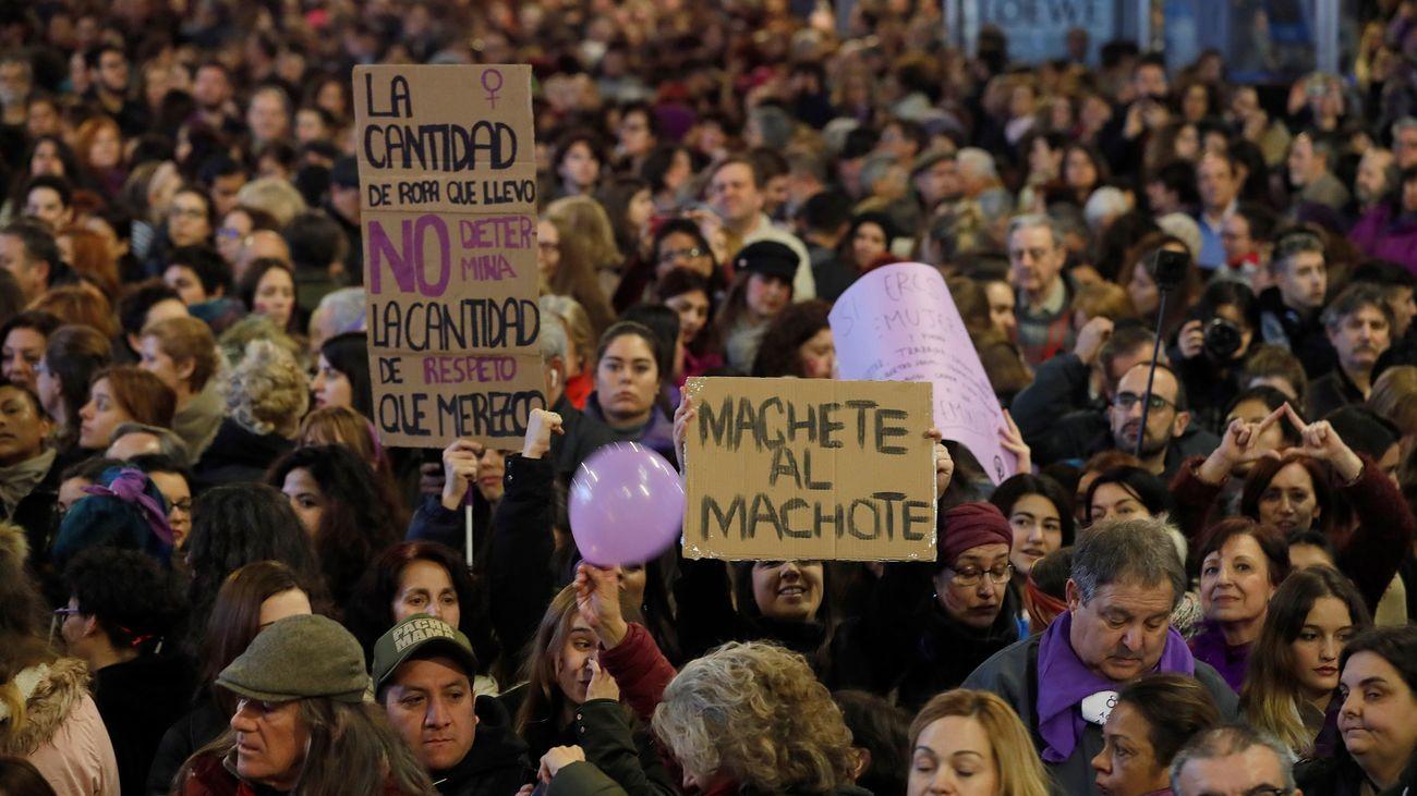 Detalle de la manifestación madrileña del 8-M