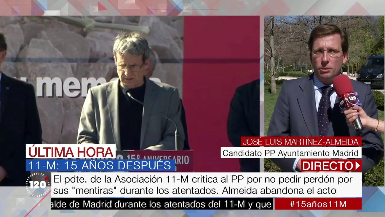 """Almeida denuncia el """"mitin político contra el PP y con insultos"""" en el homenaje a las víctimas del 11-M"""