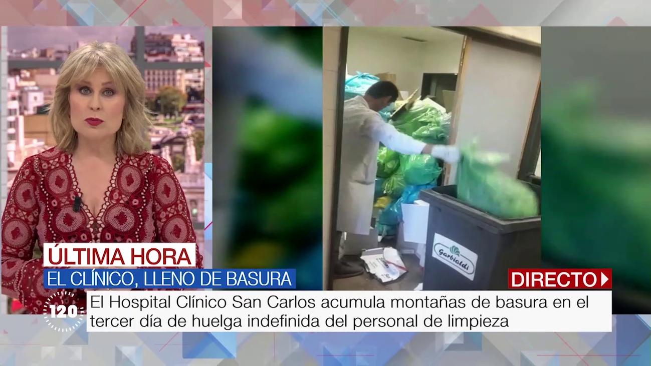 Las imágenes de la basura que acumula el Hospital Clínico por la huelga de limpieza