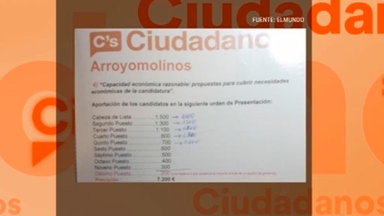 Concejales de Ciudadanos denuncian que pagaron en Arroyomolinos para ir en las listas