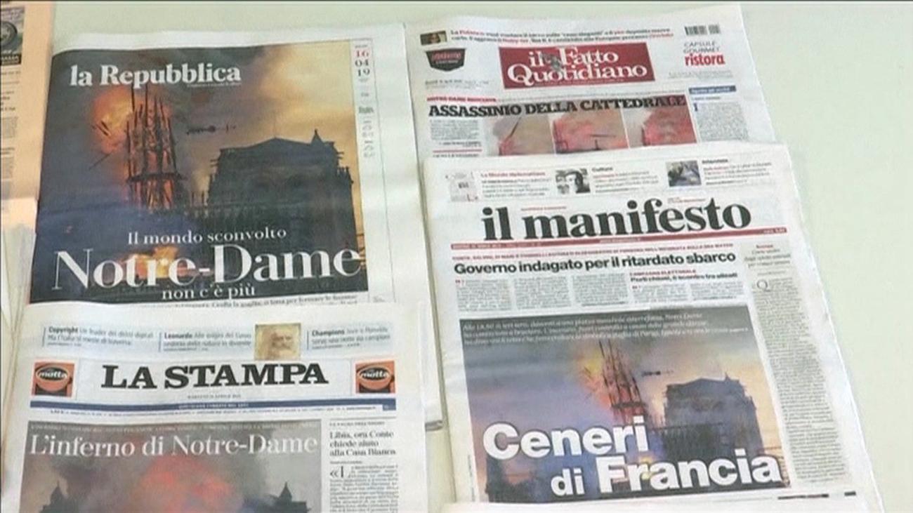 Así ha reaccionado la prensa internacional al incendio de Notre Dame