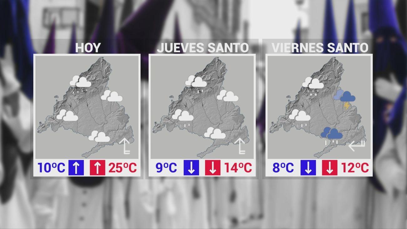 Mapas del tiempos para Miércoles, Jueves y Viernes Santo en Madrid