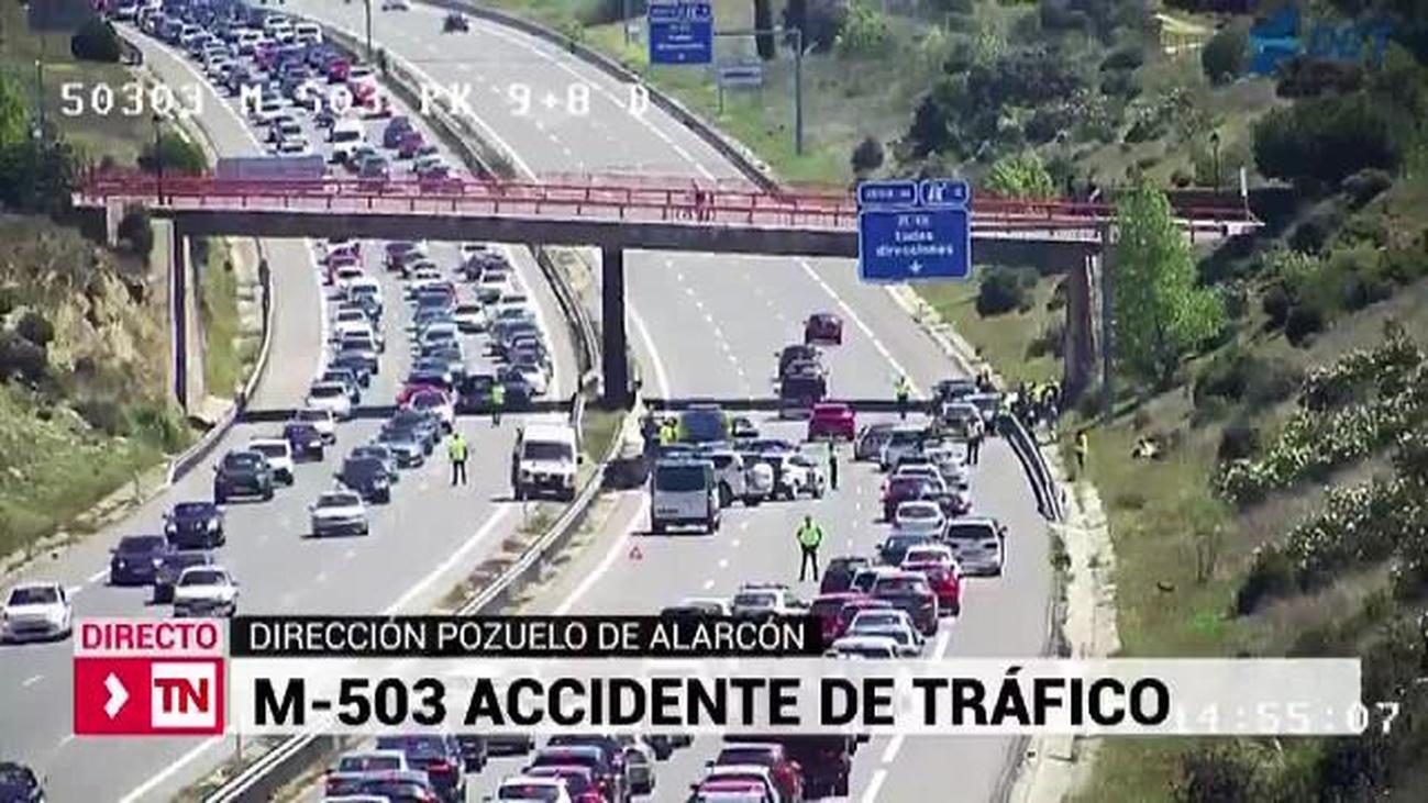 Un accidente de tráfico en la M-503 a la altura de Pozuelo causa importantes retenciones