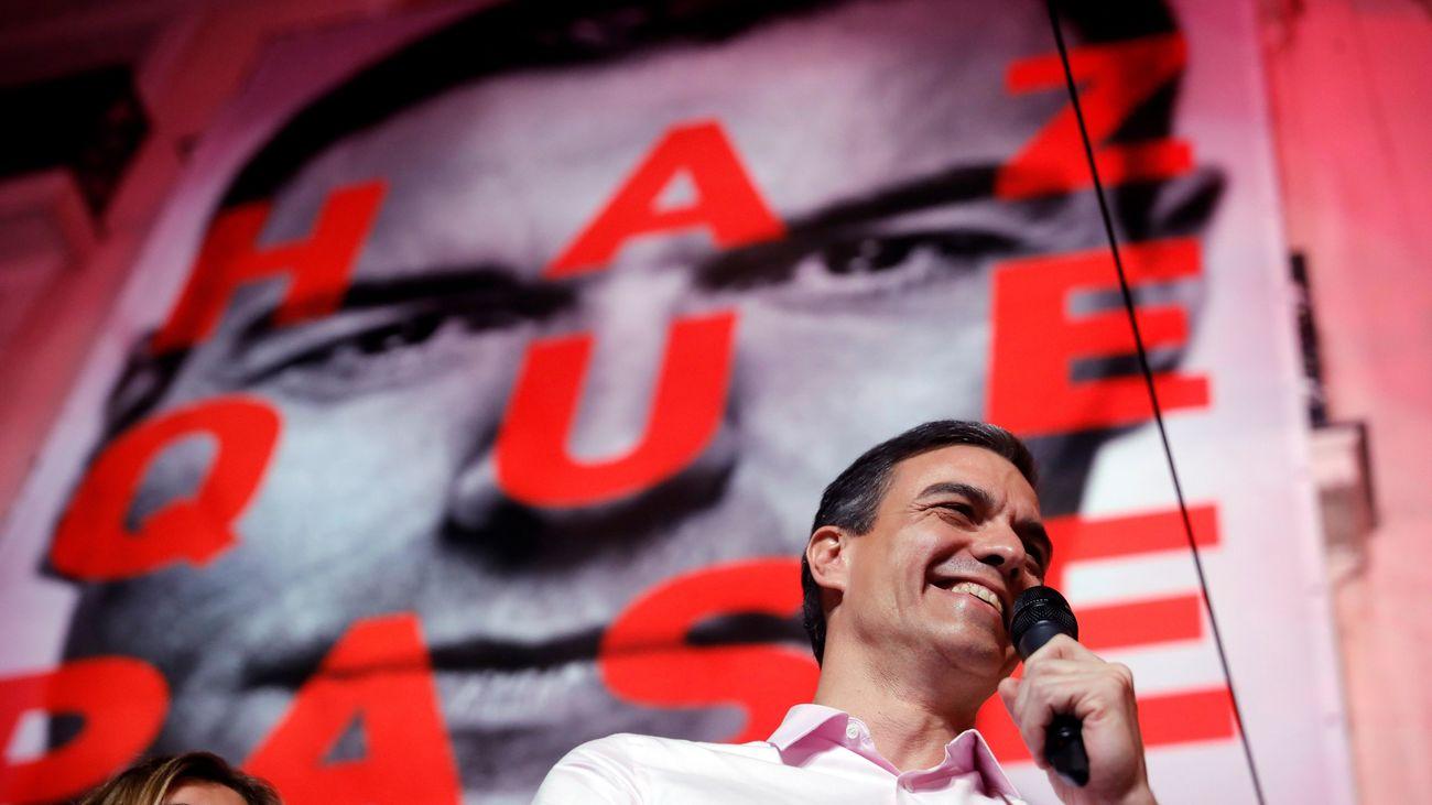 Pedro Sánchez, en la celebración del PSOE en el 28-A