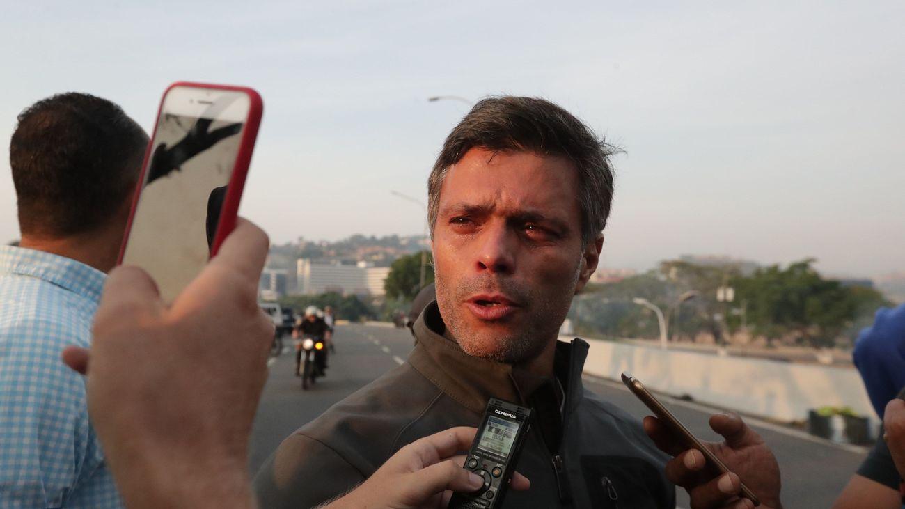 Leopoldo López, tras ser liberado