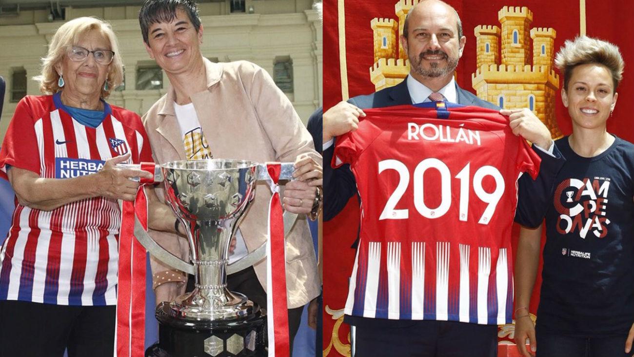 El Atlético femenino celebra su cuarta Liga en el Ayuntamiento y la Comunidad