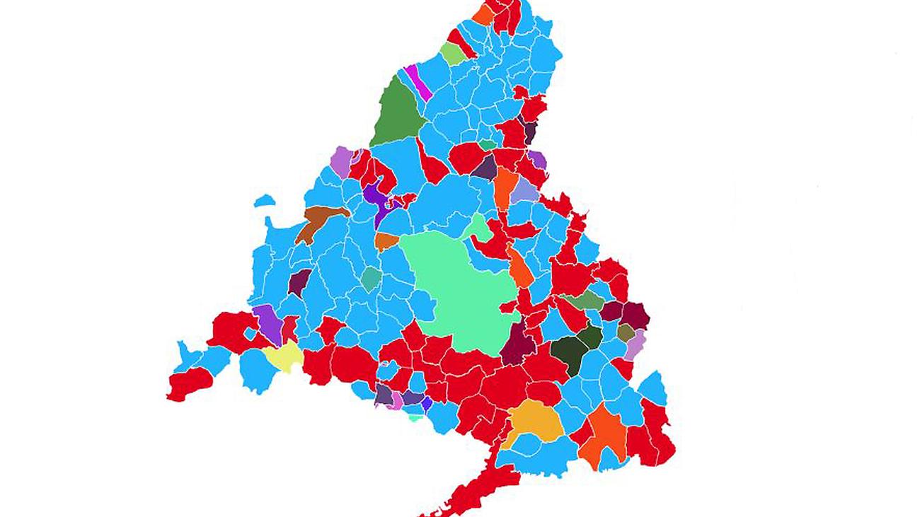 ¿Cómo queda el mapa de los 179 municipios de Madrid?