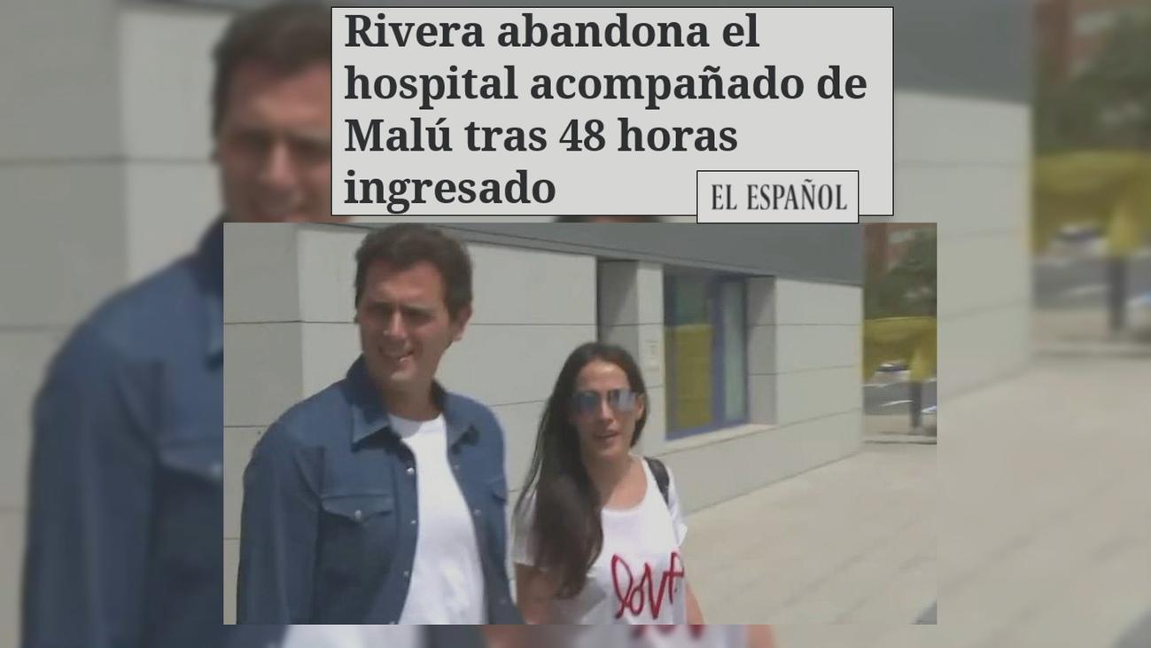 Albert Rivera sale del hospital acompañado de Malú