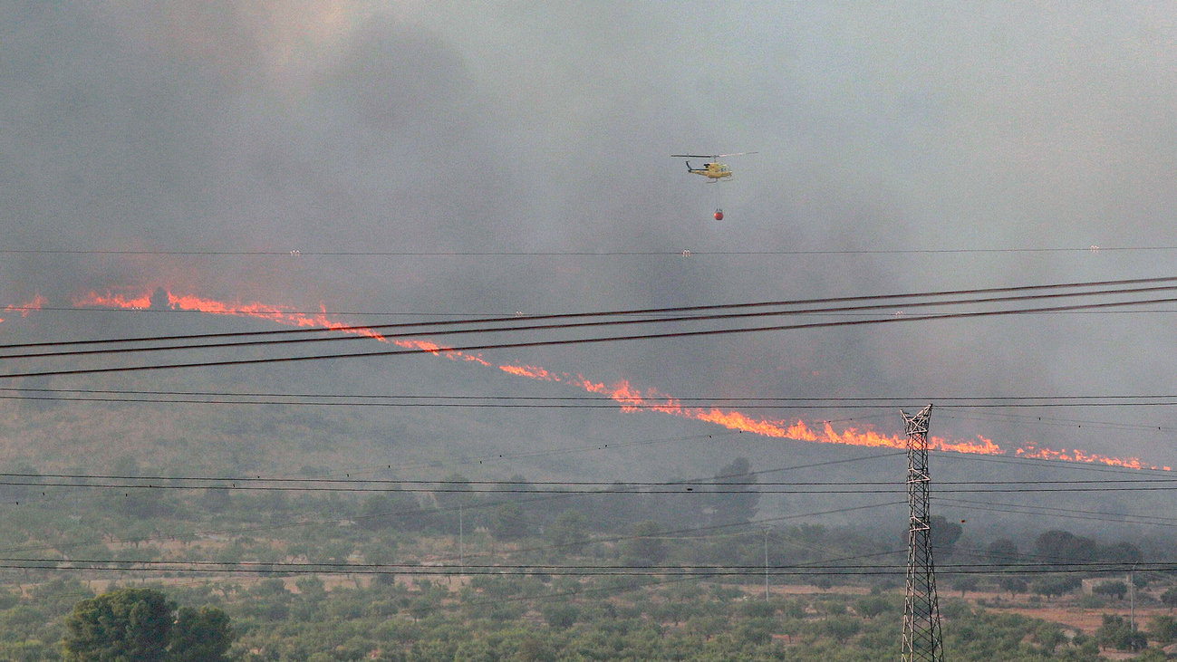 Un incendio arrasa la sierra alicantina