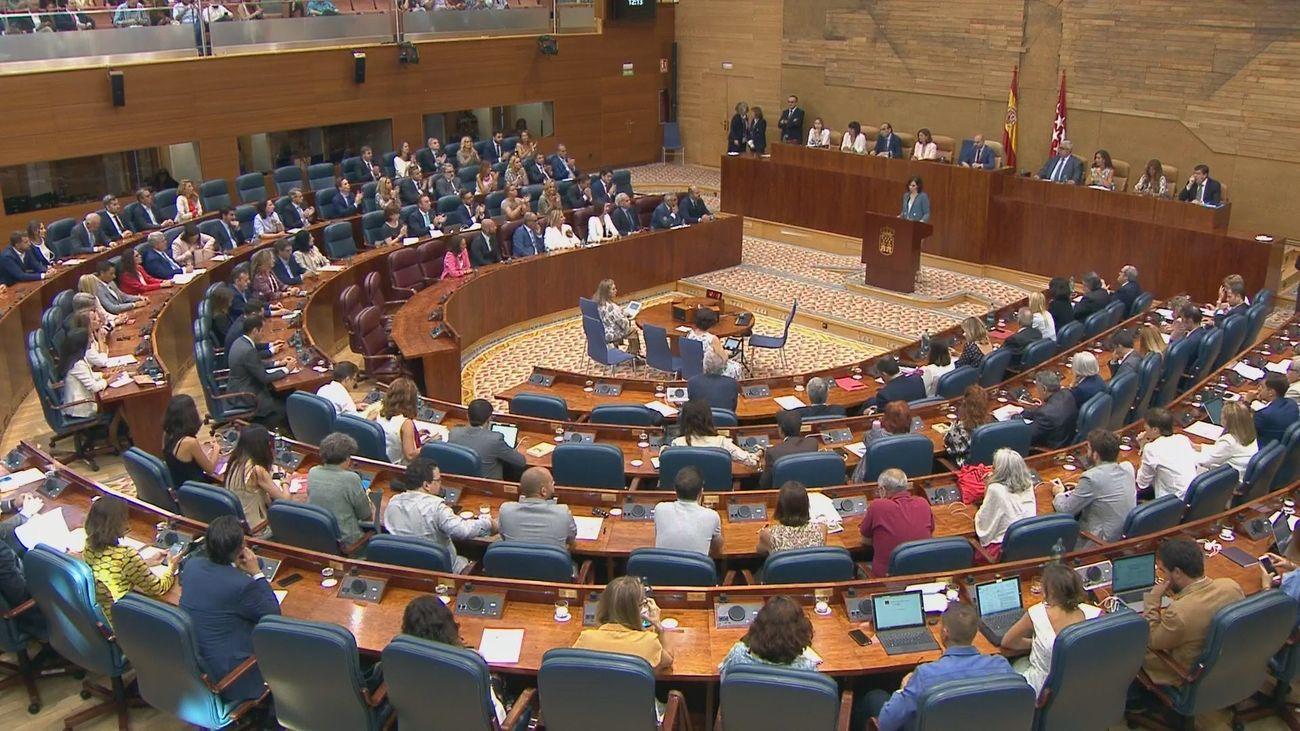 Vista general de la Asamblea de Madrid durante el discurso de investidura de Isabel Díaz Ayuso