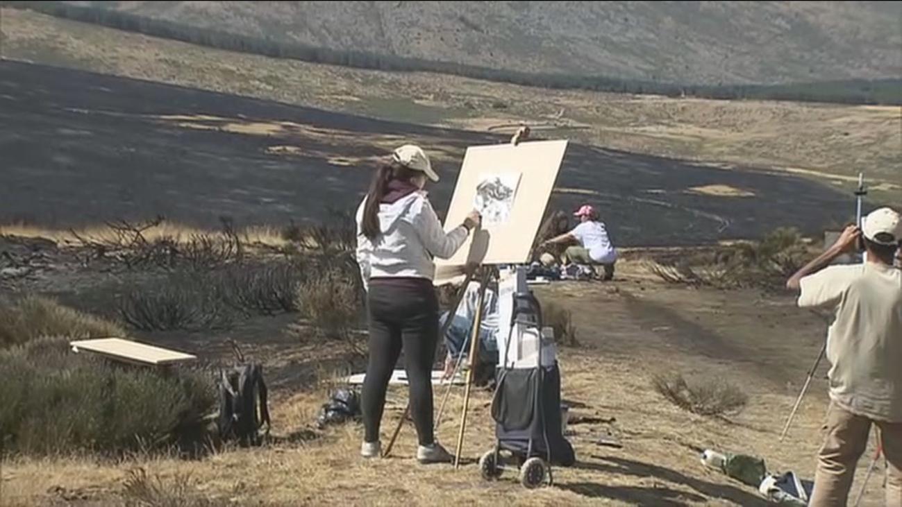 Arte con las cenizas del incendio de La Morcuera