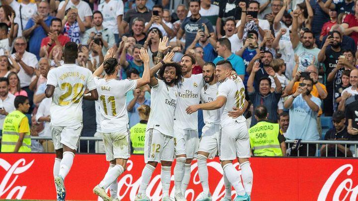 El Madrid celebra un gol en el Bernabéu