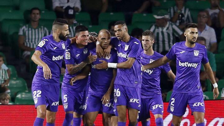 El Leganés celebra un gol en el Benito Villamarín