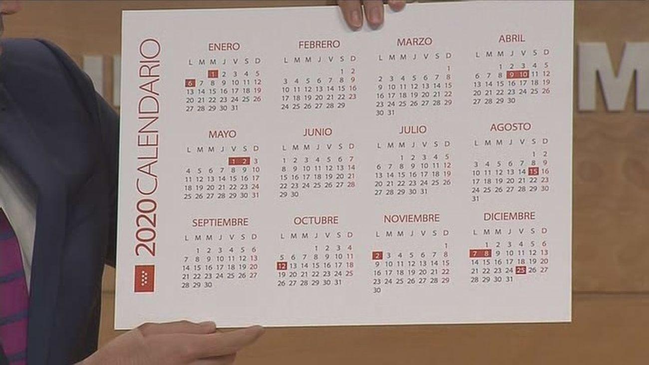 Calendario laboral en Madrid en 2020