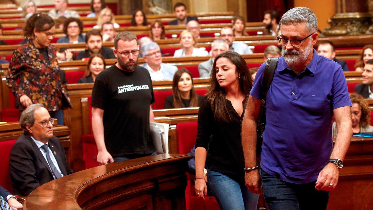 Diputados de la CUP en el Parlamento catalán