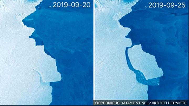 Un iceberg de casi tres veces el tamaño de Madrid se desprende en la Antártida