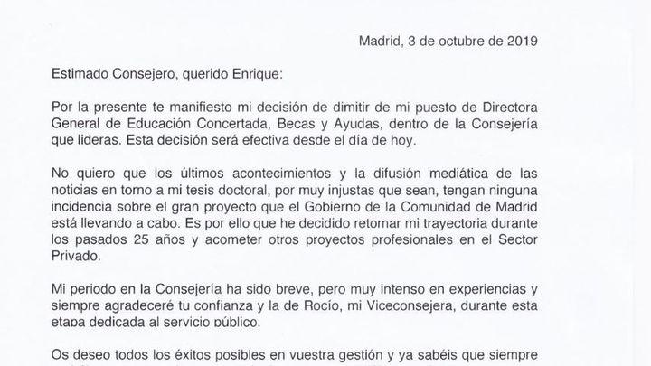 Carta de dimisión de la directora general de Educación Concertada, Becas y Ayudas al  estudio de la Comunidad de Madrid, Concepción Canoyra