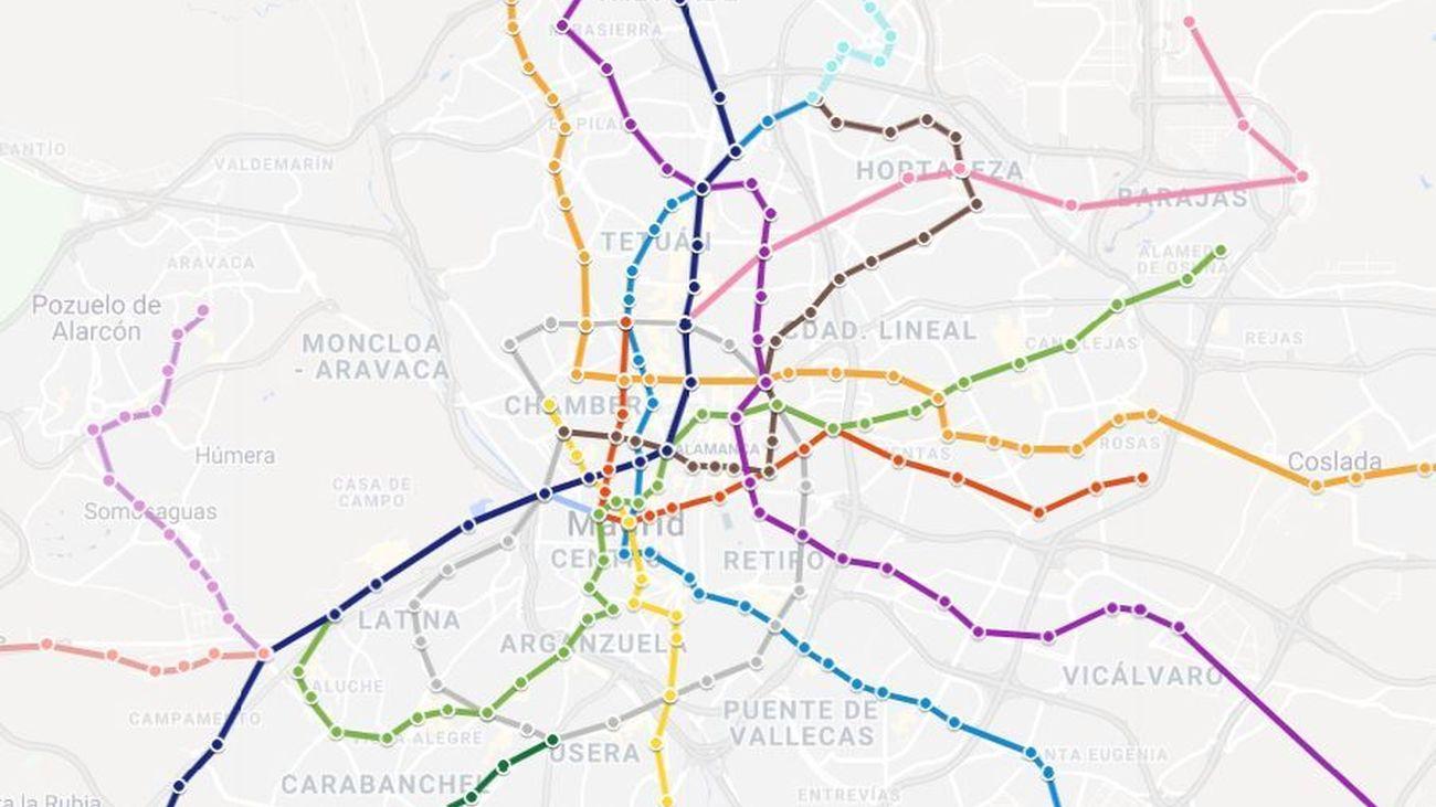 Viaja por el plano de Metro de Madrid