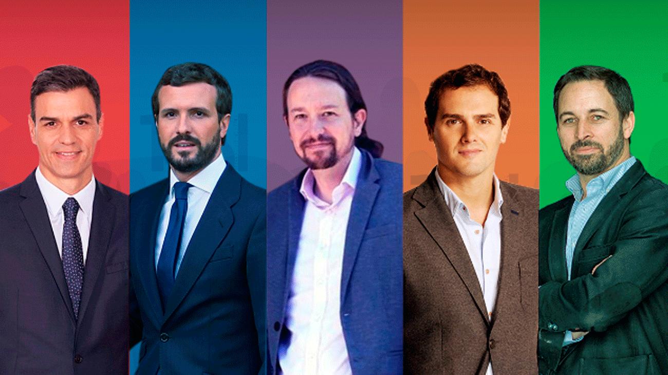 Cinco candidatos a por el voto de 2 millones de indecisos