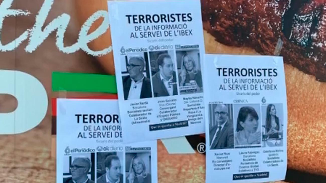 Barcelona amanece con carteles anónimos con amenazas a periodistas no independentistas