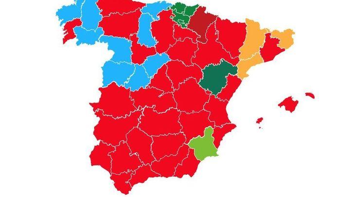 El mapa de España de las elecciones generales del 10 de noviembre