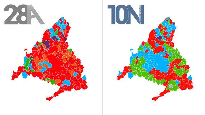 El mapa electoral de Madrid: Vox pinta de verde la Comunidad
