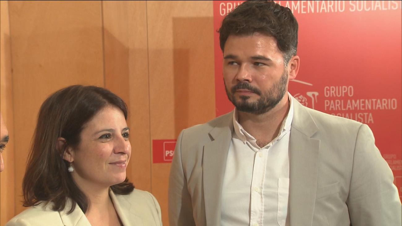"""Rufián dice a Lastra que ERC seguirá en 'no' a Sánchez mientras no deje la """"vía represiva"""""""