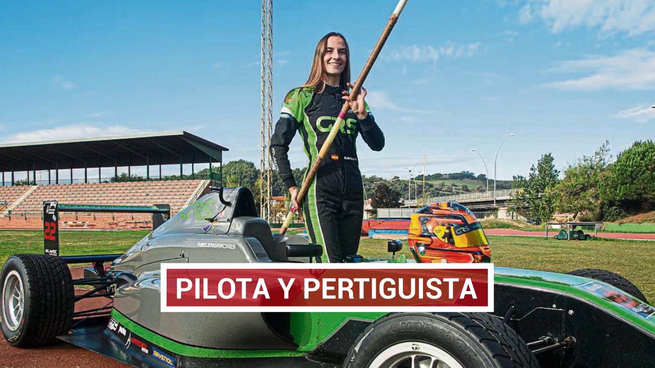 Belén García salta con pértiga y pilota coches de carreras