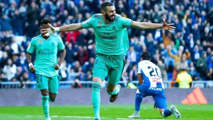 2-0. El Real Madrid gana al Espanyol con goles de Benzema y Varane