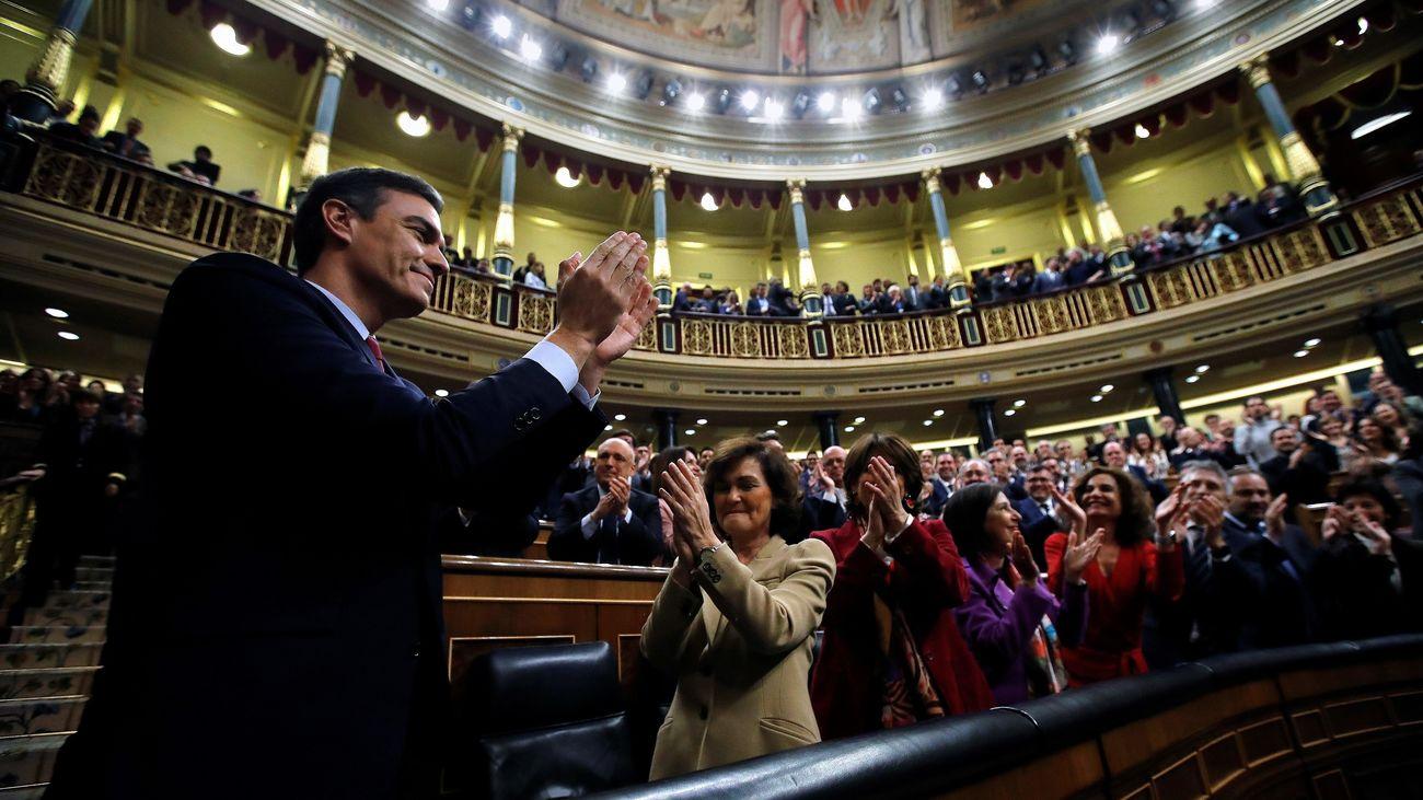 Pedro Sánchez, en el Congreso tras ser investido como presidente del Gobierno