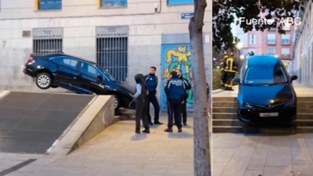 Los VTC de Madrid se encallan en las escaleras de la plaza peatonal Pedro Zerolo al seguir el GPS