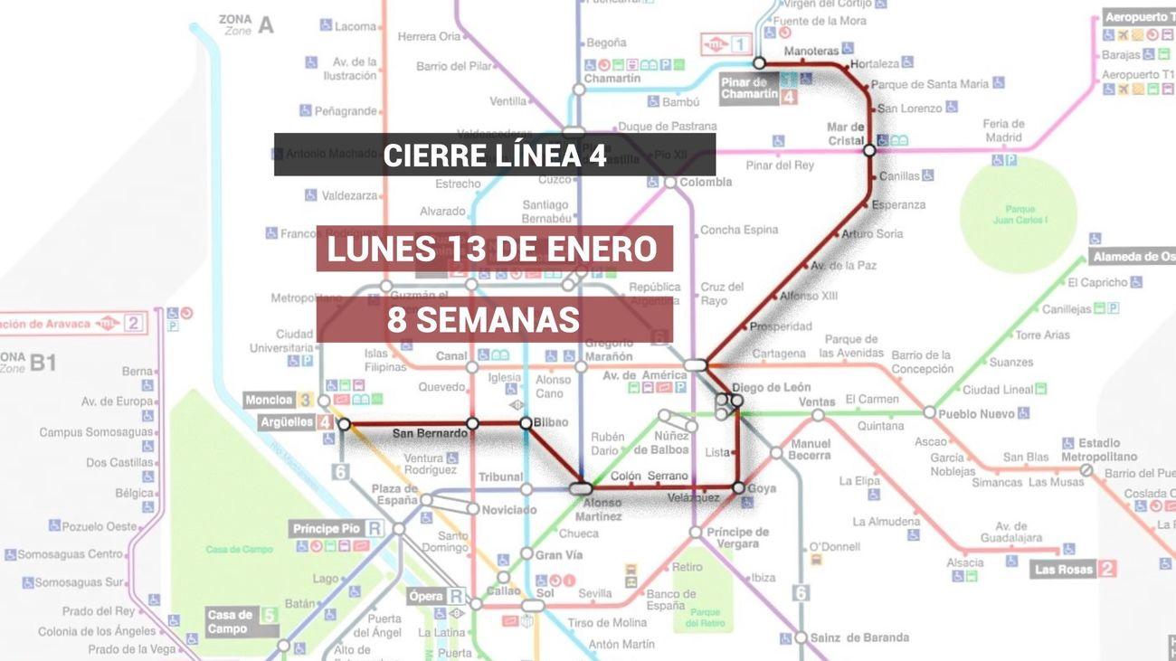 Metro reforzará las líneas 1, 2 y 6 durante el cierre de la línea 4