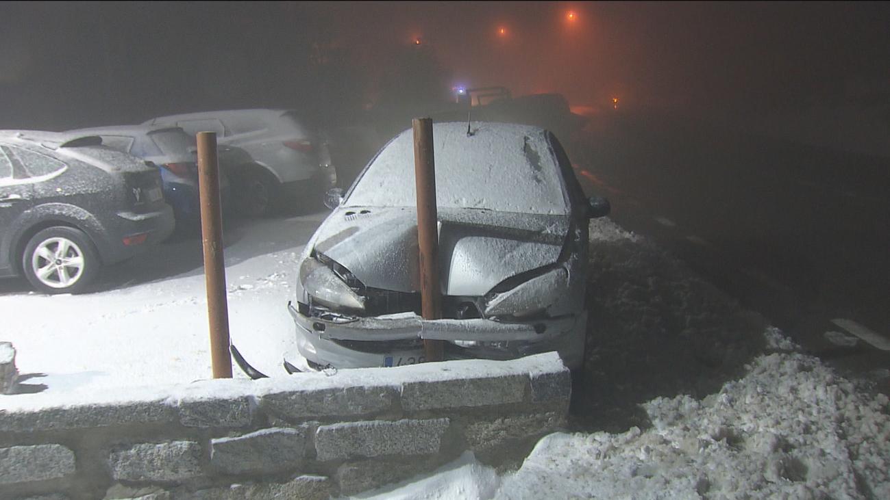 Nieve en la sierra madrileña con temperaturas bajo cero