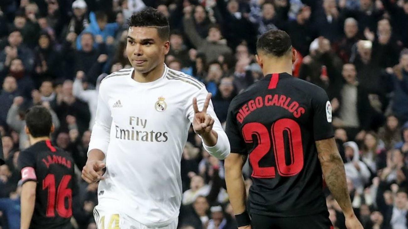 2-1. Un doblete de Casemiro derrota al Sevilla