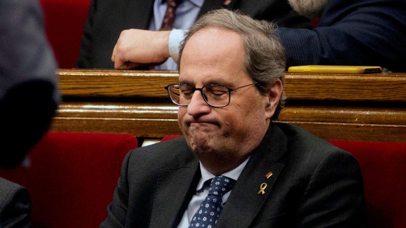 El presidente de la Generalitat, Quim Torra, en el Parlament de Cataluña