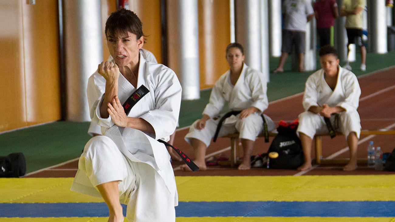 Sandra Sánchez durante un entrenamiento