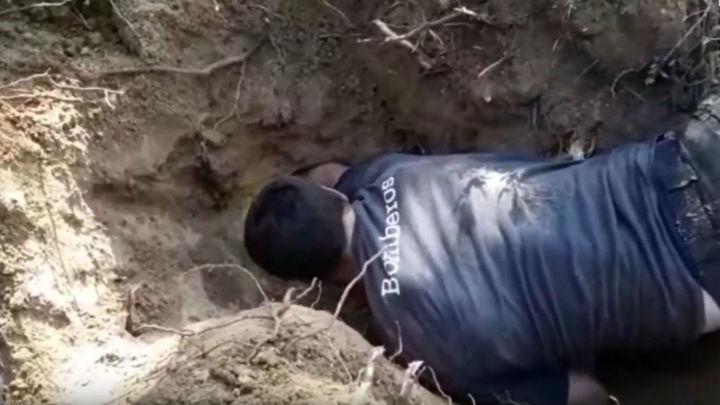 Los bomberos rescatan a una perrita teckel atrapada en una madriguera en Majadahonda