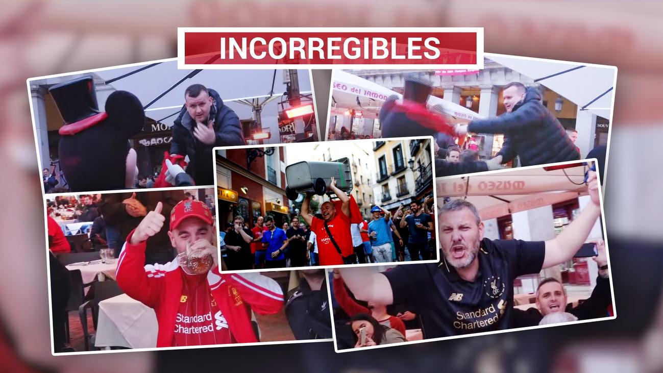 Cánticos, cerveza y malos modos de los hooligans del Liverpool en Madrid