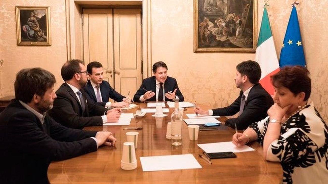 El primer ministro de Italia, Giuseppe Conte, en una reunión del Gobierno italiano