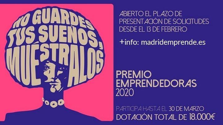 Abierto el plazo del Premio Emprendedoras 2020 de Madrid